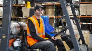 man sat in forklift
